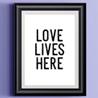 LOVE LIVES HERE Poster   Wall Decor Distressed Black White Typography