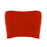 Seamless Crop Tube Top Red