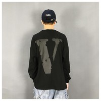 HCXX 19Sep 671 Vlone Friends Printed letter logo big V Cotton Long Sleeved sweater