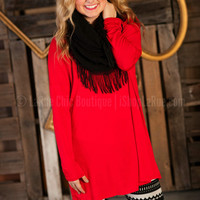 LARUE LUXE TUNIC IN HOLIDAY RED