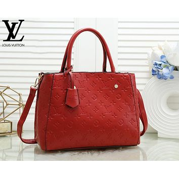 Louis Vuitton LV Fashion Women Shopping Leather Handbag Crossbody Satchel Shoulder Bag Red