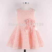 Details about Elegent Kids Toddlers Girls Princess Party Flower Solid Lace Formal Dress Sz2-7Y