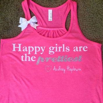 Happy Girls are the Prettiest - NEON PINK - Ruffles with Love - Racerback Tank