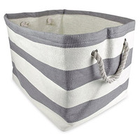 """DII Home Essentials Woven Paper, Collapsible, Convenient Storage Bin For Office, Bedroom, Closet, Toys, Laundry - Large (17"""" Long x 12"""" Wide x 12.5"""" High) in Gray Rugby Stripe"""