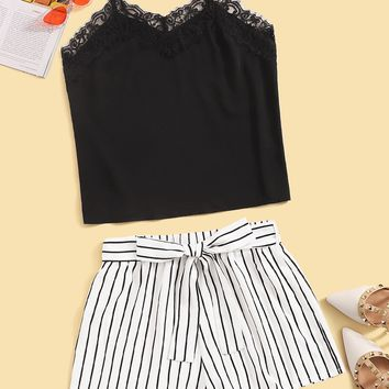 Lace Trim Cami Top and Self Belted Shorts Set