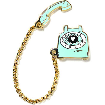 Rotary Dial Telephone Chained Pin Set