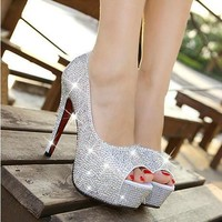 new arrival fashion women shoes rhinestone red bottom high heel wedding shoes woman crystal banquet bridal shoes