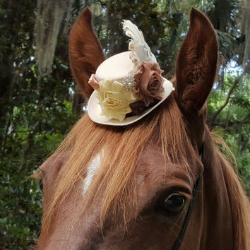 Cream and Bronze Victorian Fascinator / Mini Top Hat for Horse with Feathers and Flowers - Equine Tack Gothic Steampunk