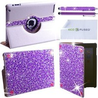 """Amazon.com: BLING 360 Rotating iPad 3 White Leather Case with Purple Sparkling Rhinestones/ One Purple BLING Stylus / One Purple Stylus - ECO-FUSED Microfiber Cleaning Cloth 5.5x3.0"""" included - compatible with iPad 2 and iPad 3: Computers & Accessories"""