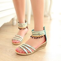 Beads Wedges Sandals Platform Beach Shoes Woman