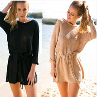 Long Sleeve Shaped Dress One Piece Dress [6338881025]
