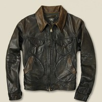 RRL - Leather Mendoza Jacket - Brown