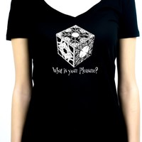 "Puzzle Box ""What is your Pleasure?"" Women's V-Neck Shirt Top Hellraiser Horror"