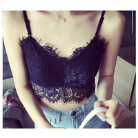 Sexy Women Floral eyelash lace Crop Boob Tube Top V Neck Padded Bra spaghetti strap Bustier Tank Top Camis