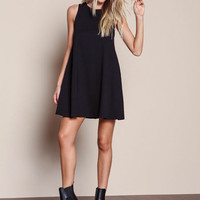 BLACK PLUSH KNIT SWING SHIFT DRESS
