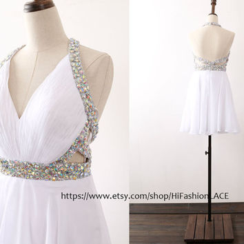 Mini Prom Dress, Halter Chiffon Short White Prom Gown with Crystals, Homecoming Dress,  Mini Formal Dresses, Wedding Bridesmaid Dress