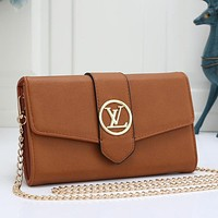 Louis Vuitton LV Women Leather Buckle Wallet Purse Crossbody