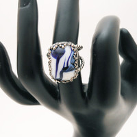 Vintage Marbled Glass Ring, Silvertone
