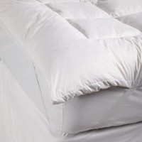 Simple Comforts Feather and Down Mattress Pad with Anchor Band Security Straps, King, White