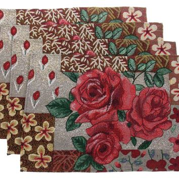 Set 4 Placemats Roses Leaves Flower Theme 13x19 Kitchen Table Fabric Tapestry