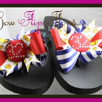 Design your own Softball Bow Rhinestone Number Flip Flops - Choose your colors