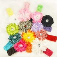 Amazon.com: 12 Assorted 3-in-1 Large Flower Hair Clip Bows with Soft Stretch Crochet Child Headbands fits Infant Baby to Toddlers to Youth Girls - Mix of Gerber Daisy Lily & Peony: Clothing