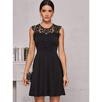 Guipure Lace Panel Sleeveless Dress