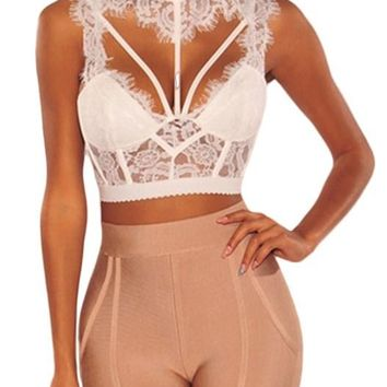 Sexy White Lace Backless Strappy Bustier Crop Top