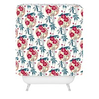 Belle13 Retro Floral Fiesta 2 Shower Curtain