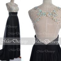 Black Prom Dresses, 2014 Prom Gown, Straps with Open Back Lace and Chiffon Long Black Prom Dresses,Fomal Dresses