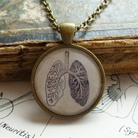 Anatomical Lungs Necklace - Antique Anatomy Print Necklace W/ Chain in Brass