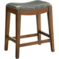 """OSP 24"""" Saddle Stool with Nail Head Accents & Espresso Legs, Pewter Leather"""