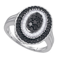 Black Diamond Fashion Ring in 10k White Gold 0.75 ctw