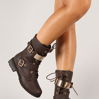 Wild Diva Lounge Timberly-95 Lace Up Military Mid Calf Boot