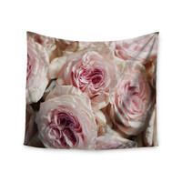 """Crissy Mitchell """"Pink Roses"""" Pastel Floral Wall Tapestry"""