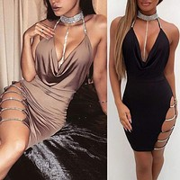 Women Vintage Bodycon Sleeveless Casual Evening Party Cocktail Prom Dress