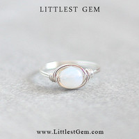 White Opal Ring, wire wrapped ring, wire wrapped jewelry handmade, unique rings, small ring, faux opal ring, prom ring, custom