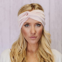 Knotted Turband Headband Workout Hair Band in Pink