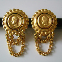 CAROLEE Brushed Matte Golden Finish Gold Tone Greek Roman Soldier Coin Style With Dangle Chains Clip on Back Earrings Great Looking Piece