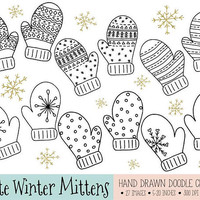 Christmas Clip Art. Hand Drawn Mittens Clipart. Nordic Winter Clothing Illustrations. Black Doodle Christmas Mitten Scrapbooking Images.