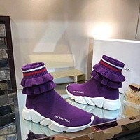 2019 New Balenciaga Speed Trainers Purple Sneakers