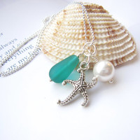 Starfish necklace with Teal Seaglass bead & swarovski pearl - Perfect nautical gift for sisters, girlfriends, BFFs - FREE SHIPPING