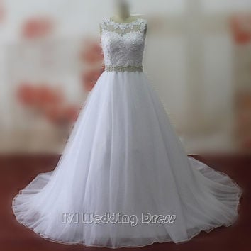 Real Pictures Jewel Neckline Wedding Dresses with Lace Custom Size Made Bridal Dresses Wedding Gowns with Beaded Sash Plus Size Bridal Gowns