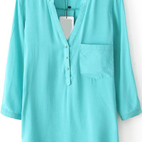 Green V-neck Long Sleeve Pocket Blouse