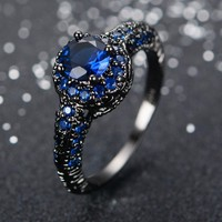 Fashion Blue Female Ring Wedding Band Black Gold Filled Jewelry Promise Engagement Rings For Women Bague Femme RB0034