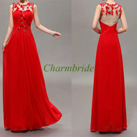 long red chiffon prom dresses with applique lace / latest tulle gowns for holiday party / cheap evening dress on sale / homecoming gowns