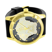 Medusa Watches Gold Tone Rubber Black Strap