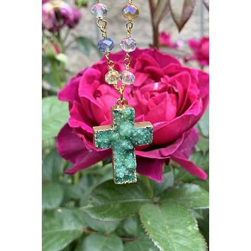 Green Druzy Cross Necklace #I1214