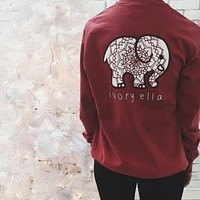 2016 Trending Fashion Red Cartoon Elephant Long Sleeve Round Necked Top Shirt T-Shirt