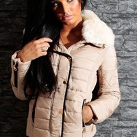 Fireside Beige Quilted Faux Fur Collar Jacket | Pink Boutique